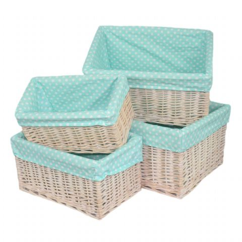 New England 4 Light Baby Blue Lined White Wicker Baskets